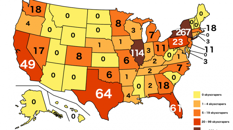 The Number of skyscrapers by State