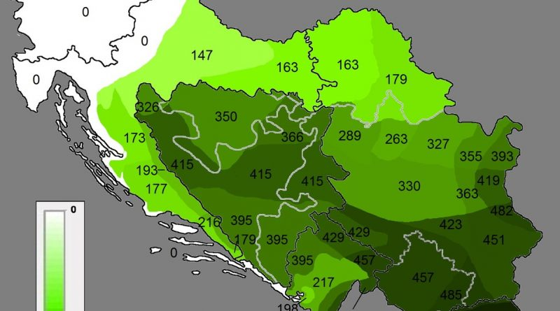 Number of years each part of former Yugoslavia spent under Ottoman rule
