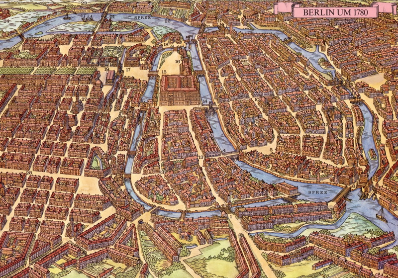 The city of Berlin, 500 years apart: the evolution from a small Branderburgian town to the capital of Prussia and one of the main centers of the Enlightenment