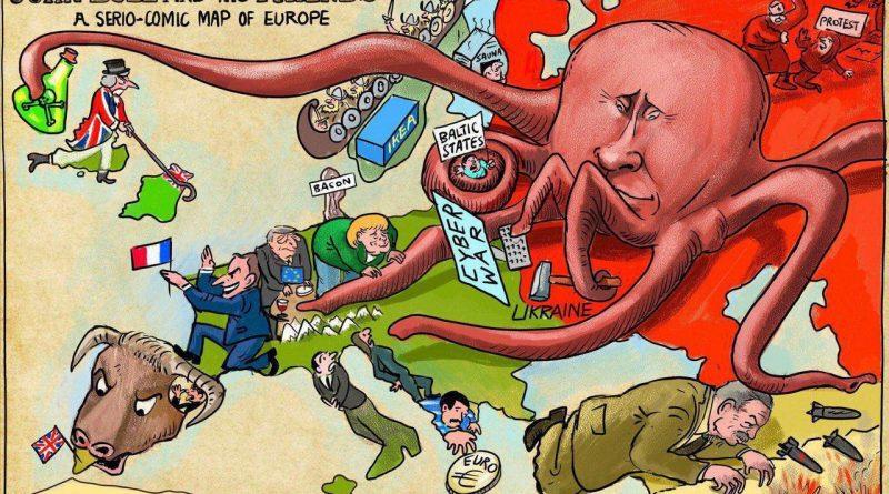 A modern satirical map of Europe