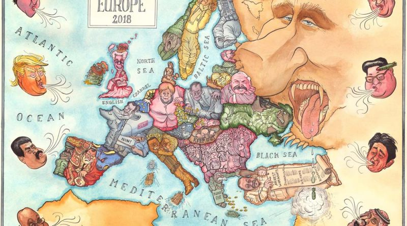 Comic map of Europe, 2018