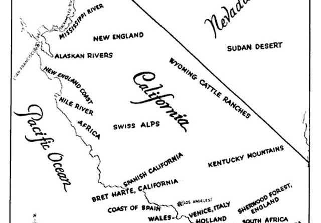 1927 Paramount Studio map of potential filming locations in California that best depict international regions