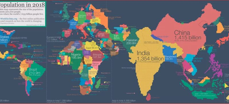 Map of the World Where the Sizes of Countries Are Determined by Population, 2018