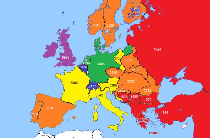GDP per capita in Europe in 1890