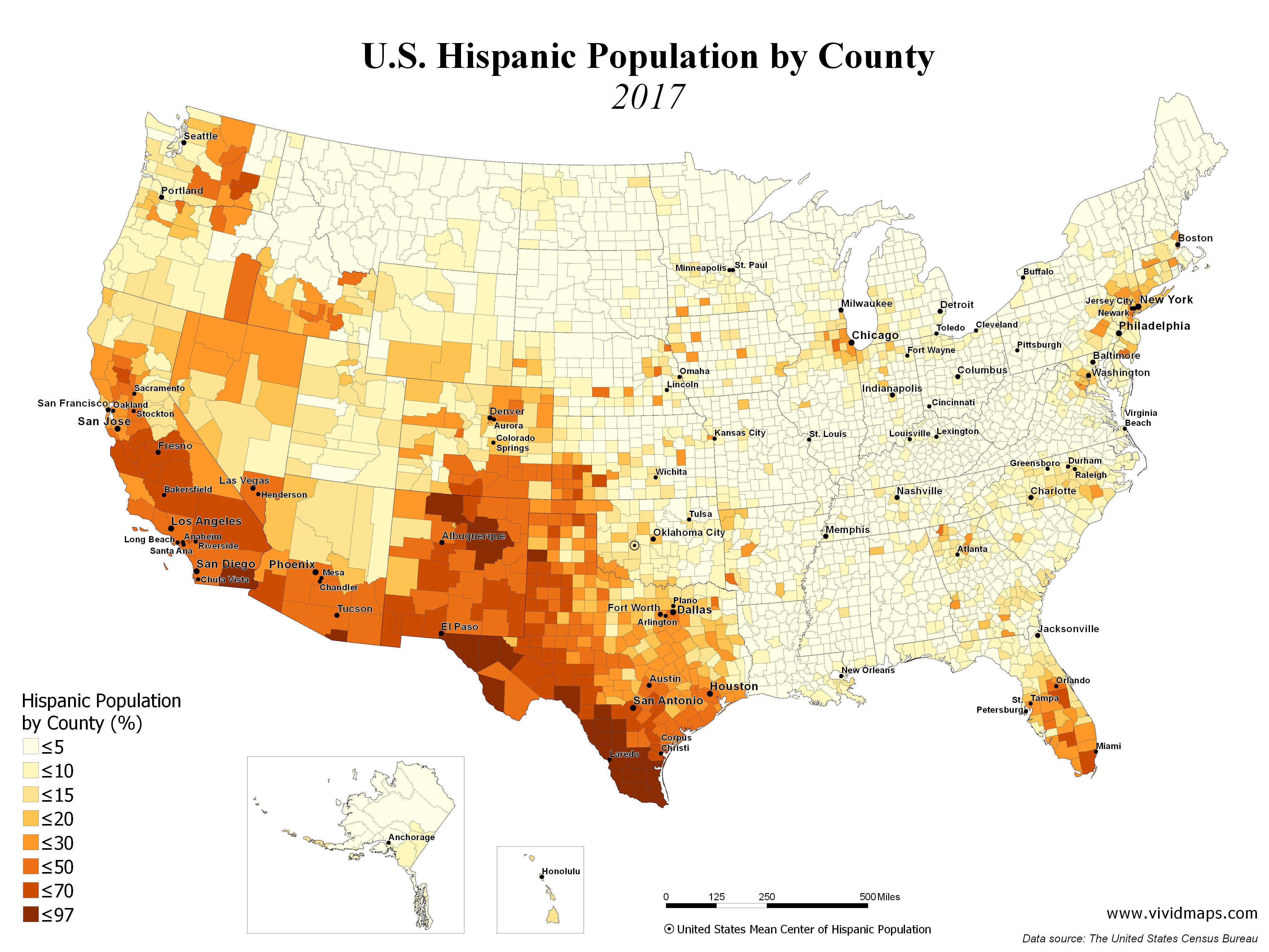 Us Hispanic Population Map U.S. Hispanic Population by County (1990   2017)   Vivid Maps