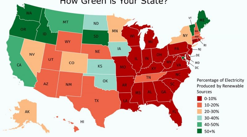 Greenest U.S. state