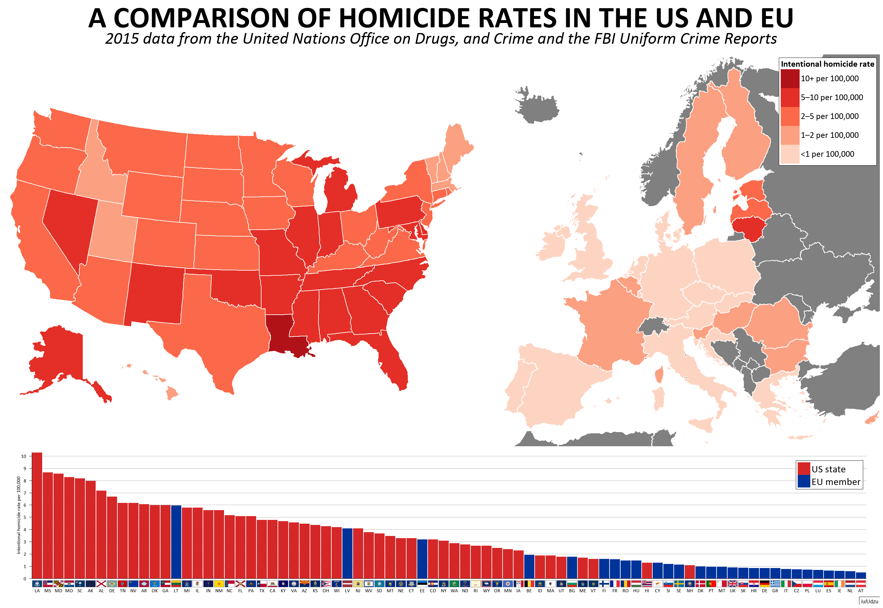 Map of comparison of homicide rates in the US and Europe