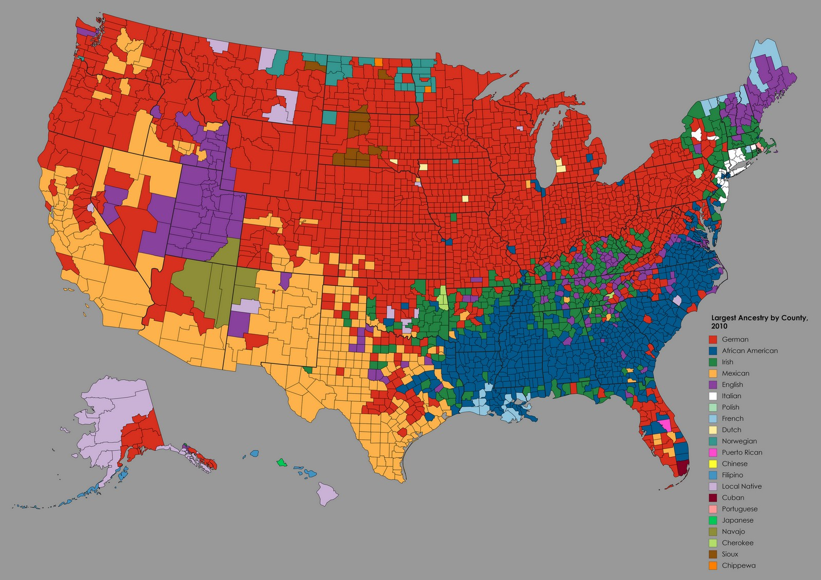 Ethnic Map Of The Us Largest Ancestry by U.S. County   Vivid Maps