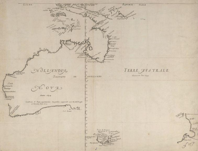 Map of a not yet fully discovered Australia (1659)