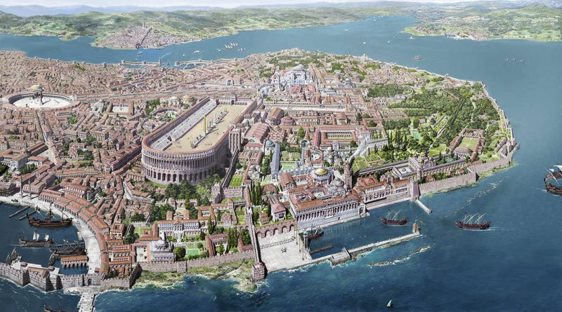 Bird's eye view of Byzantine Constantinople (Istanbul)