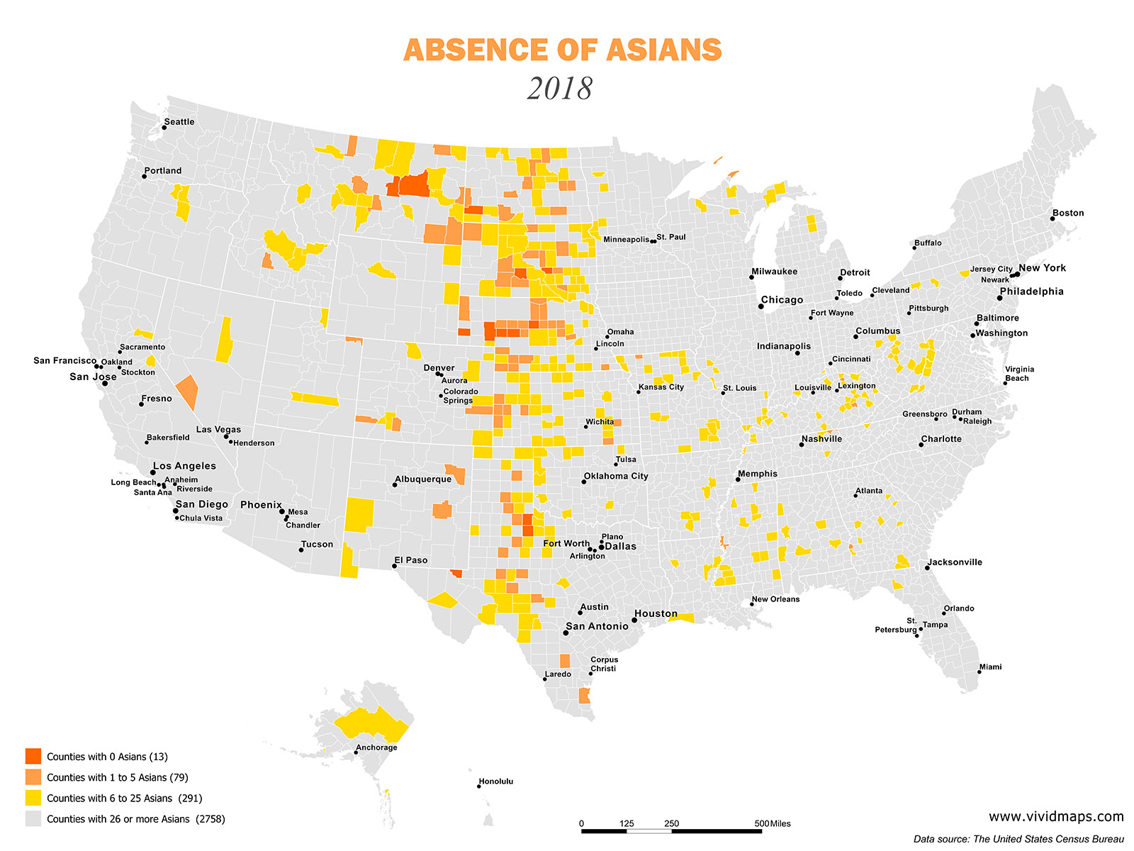Map of absence of Asians