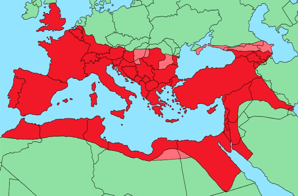 Map of the Roman Empire, at its height, overlying on modern borders
