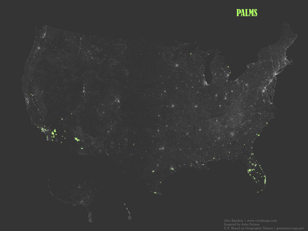 "The occurrence of place names that contain the word ""Palms"""