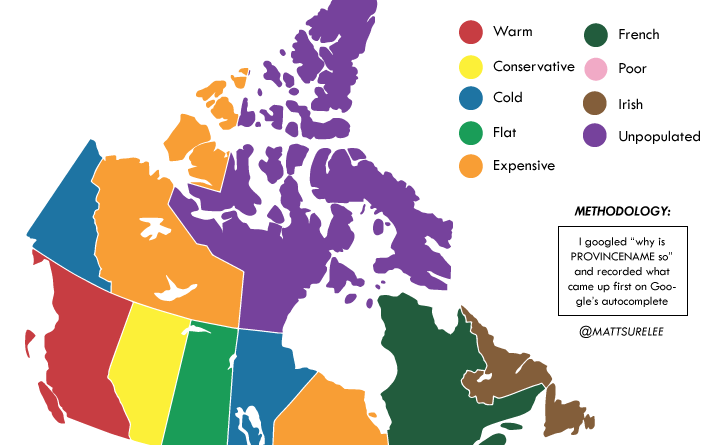 How Google autocomplete describes Canada