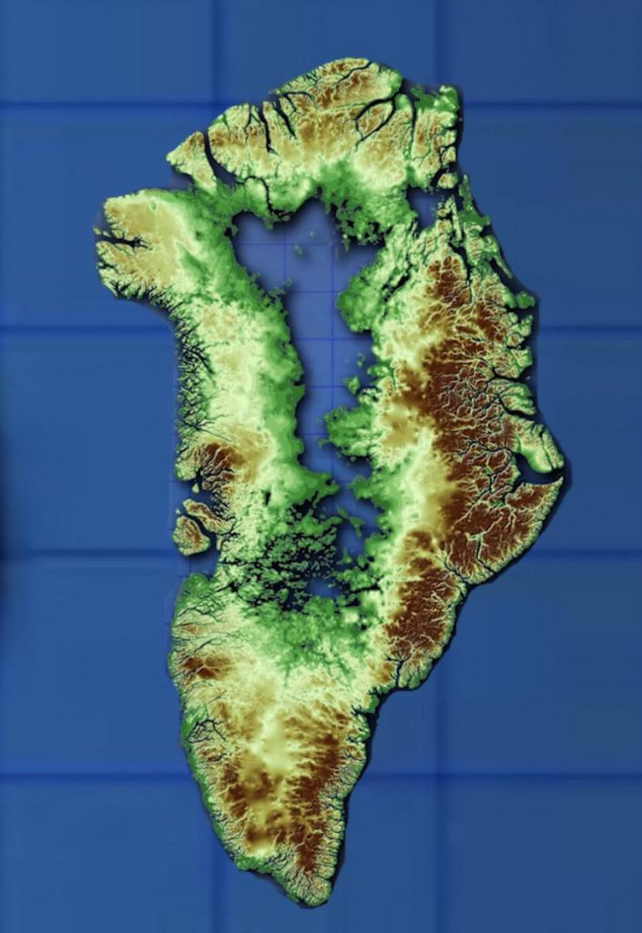 Greenland's bedrock if it melted.