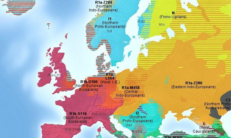Map with predominant Haplogroups