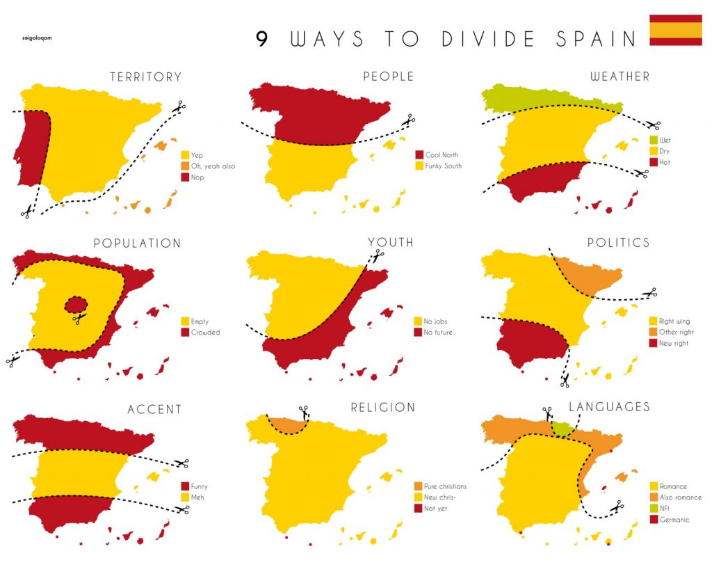 Map of ways to divide Spain