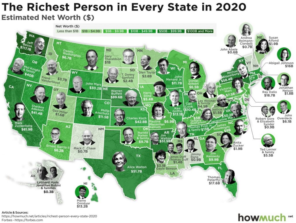 Map of the richest perseno in each U.S. State