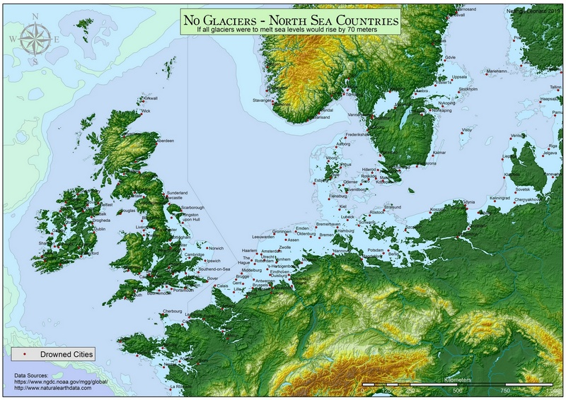 North Sea Countries with a 70 meters sea-level rise