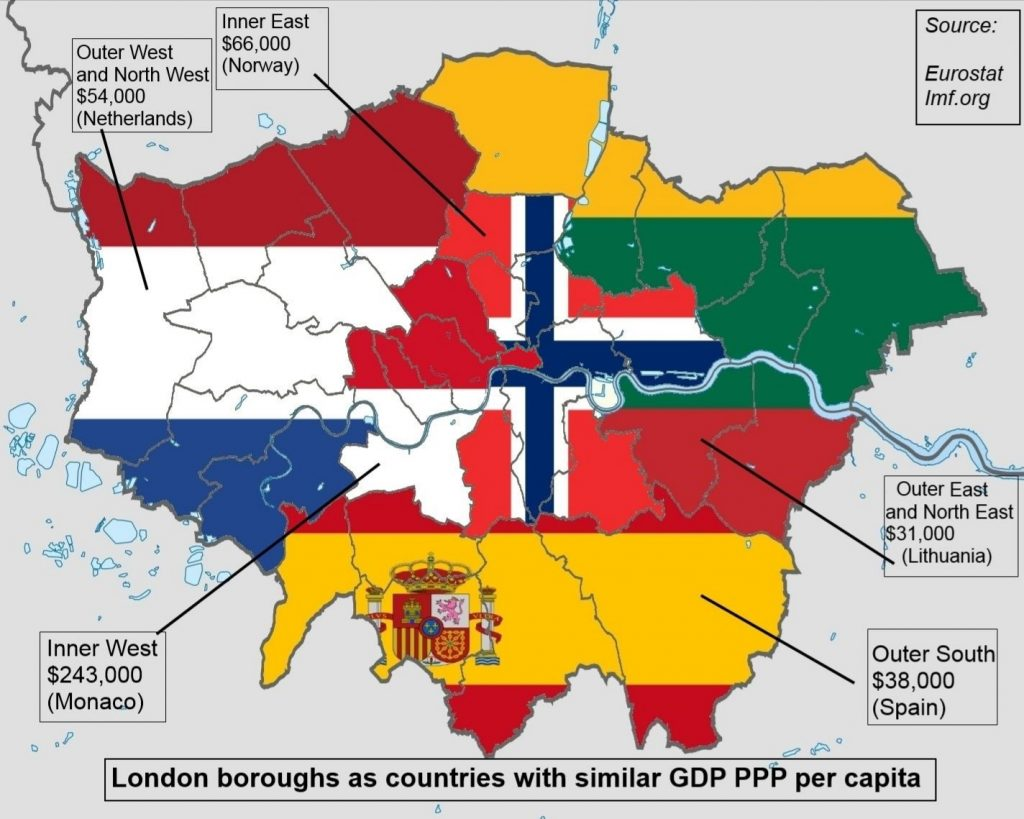 London boroughs as countries with similar GDP PPP per capita