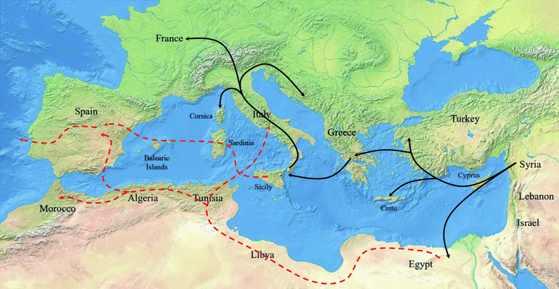 Map of the diffusion of the olive tree in the Mediterranean Basin