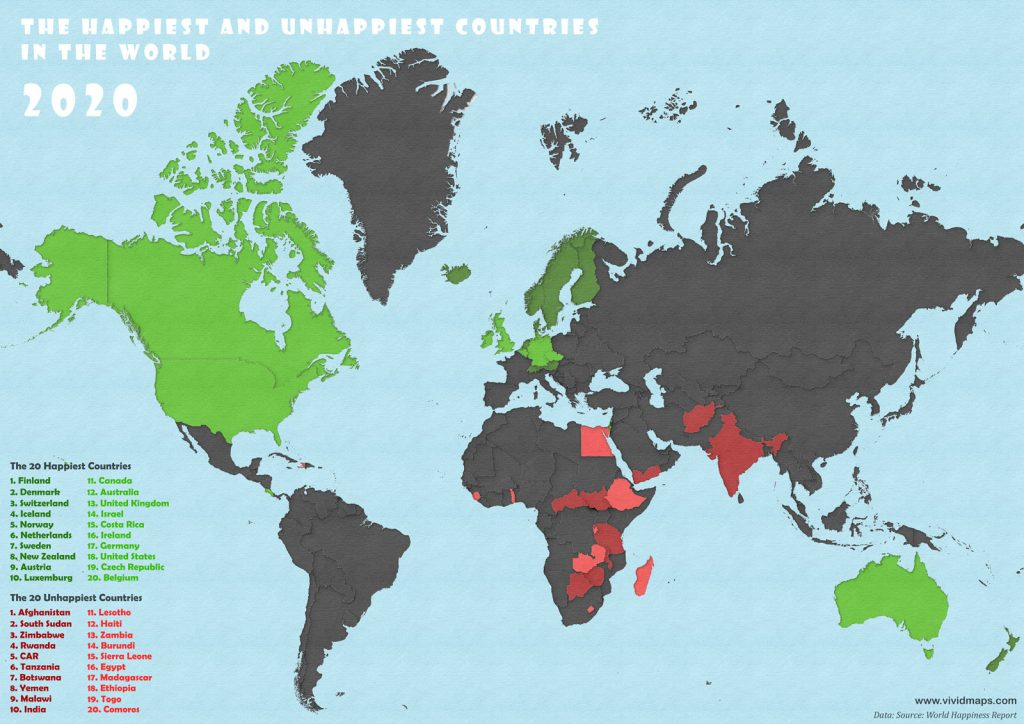 Happiest countries in the world mapped