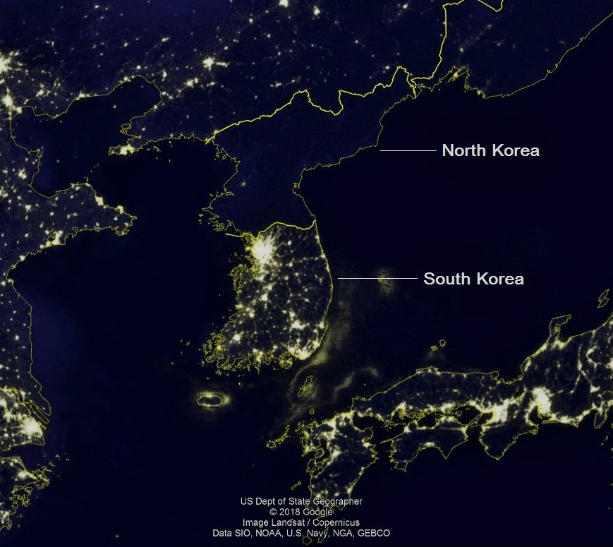 Light pollution in North and South Korea