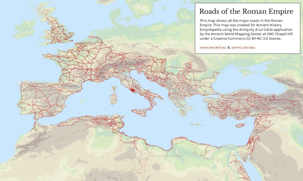 Map of roads of the Roman Empire
