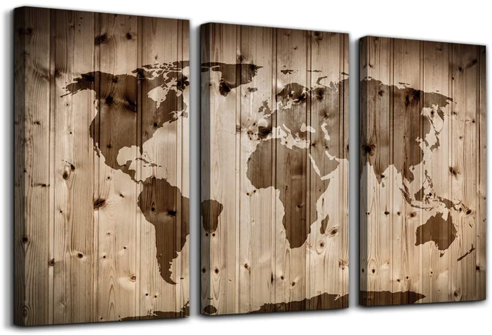 World map poster on wood