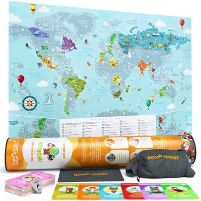 Scratch-off map of the world for kids