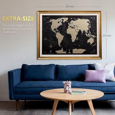 Scratch-off World Map Wall Poster