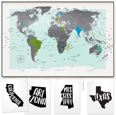 World Map Scratch-off Poster for Wall