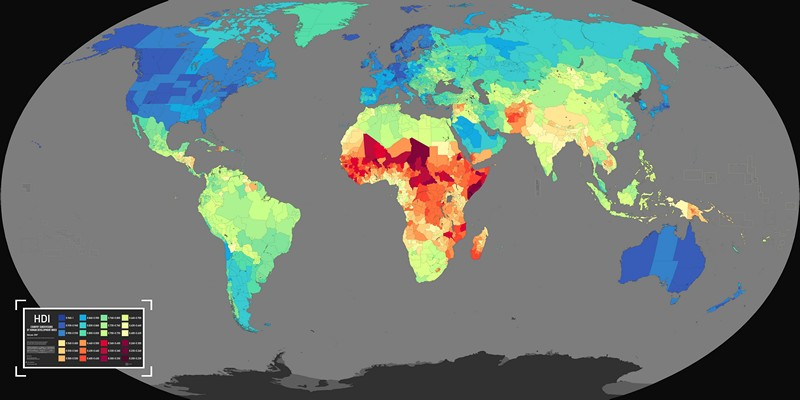 Map of country Subdivisions by Human Development Index
