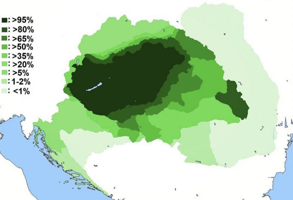 One thousand Hungarians were asked to mark areas they consider Hungarian