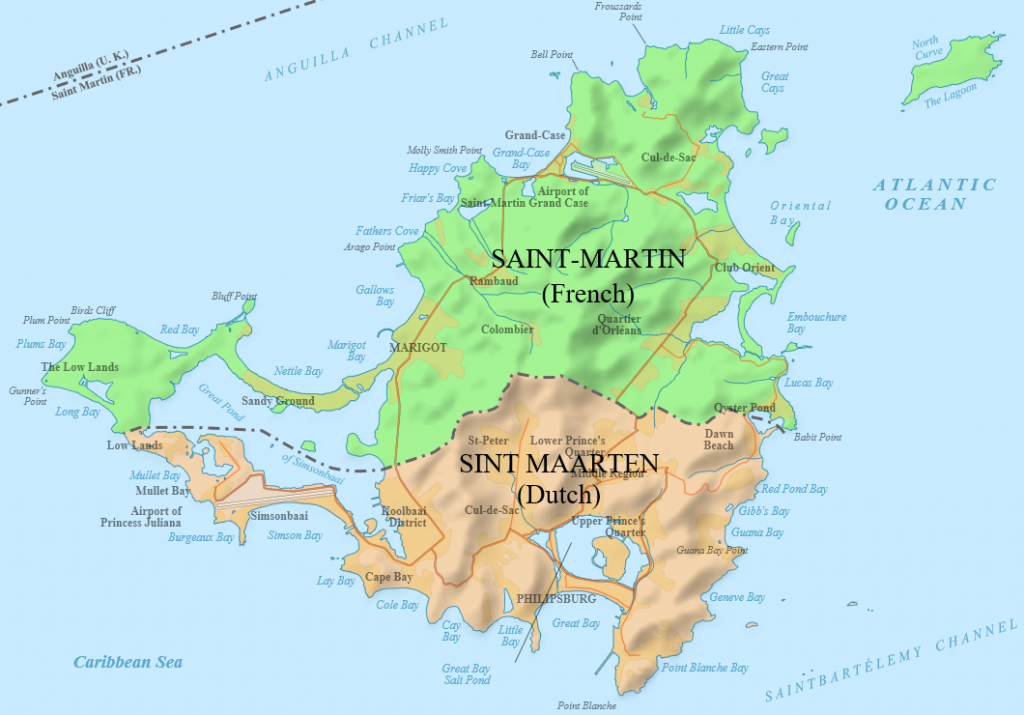Map of Saint Martin: border between France and the Netherlands