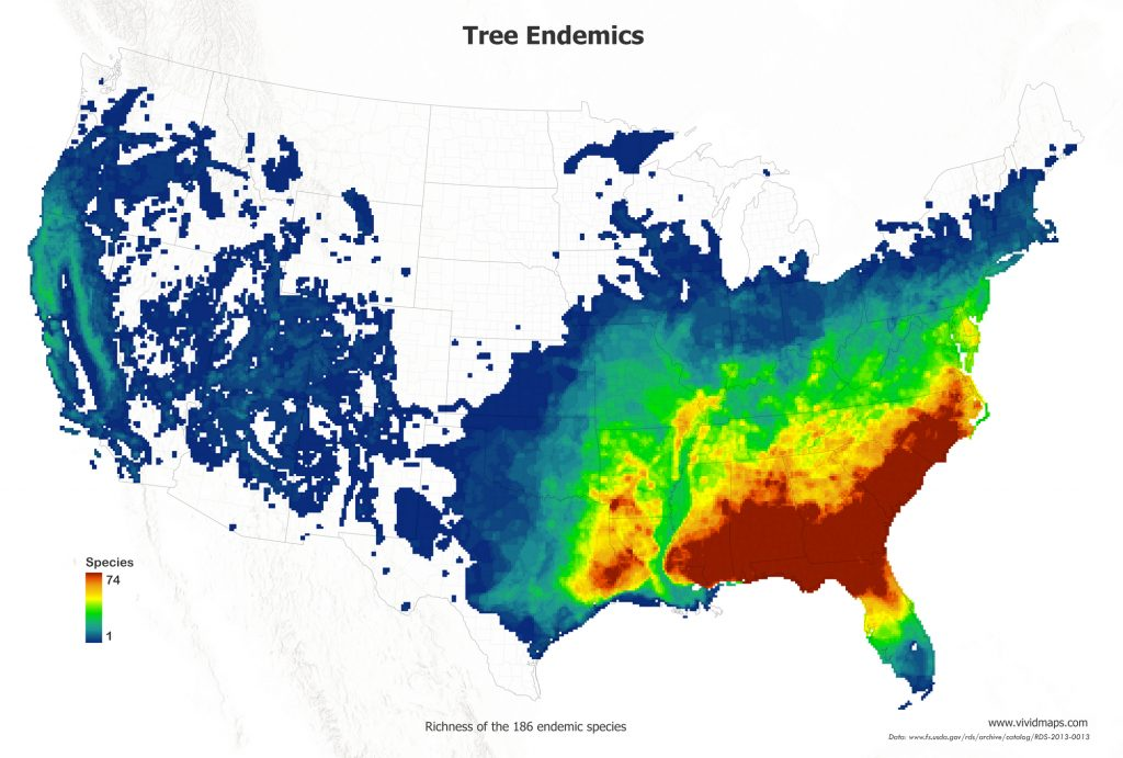 Map of endemic tree species in the U.S.