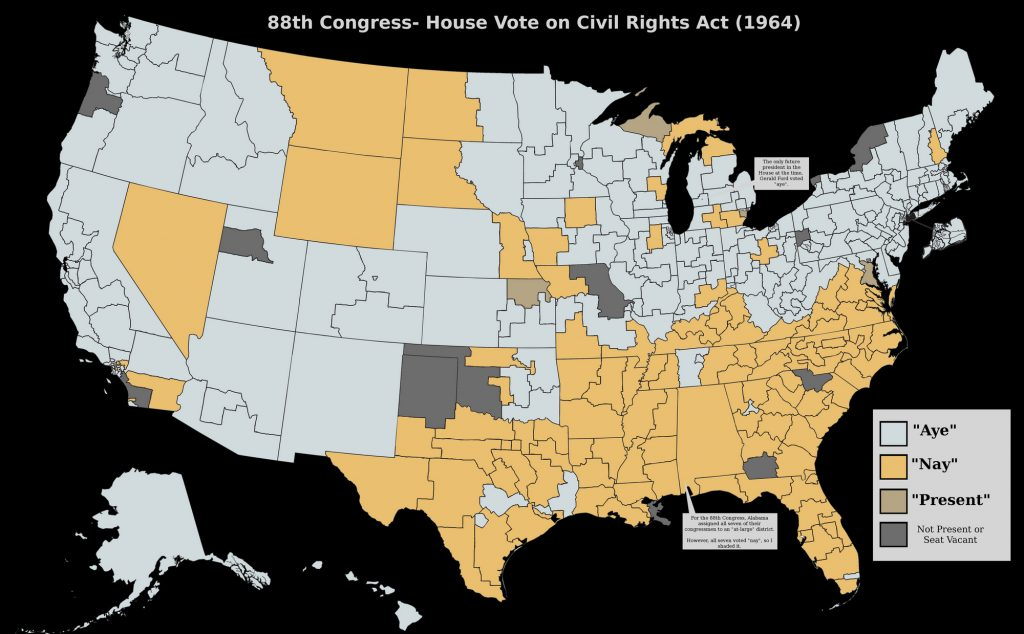 Map of Civil Rights Act- US House of Representatives vote