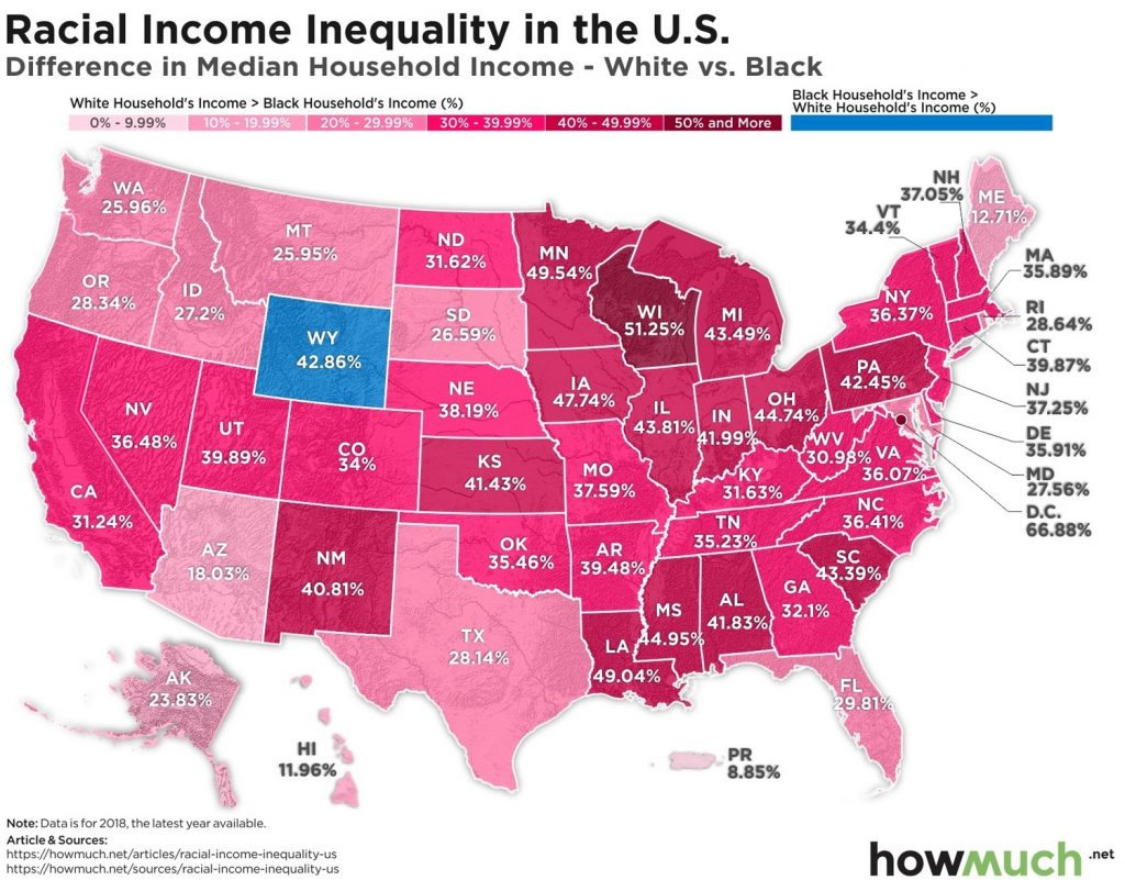 Map of racial income inequality in the U.S.