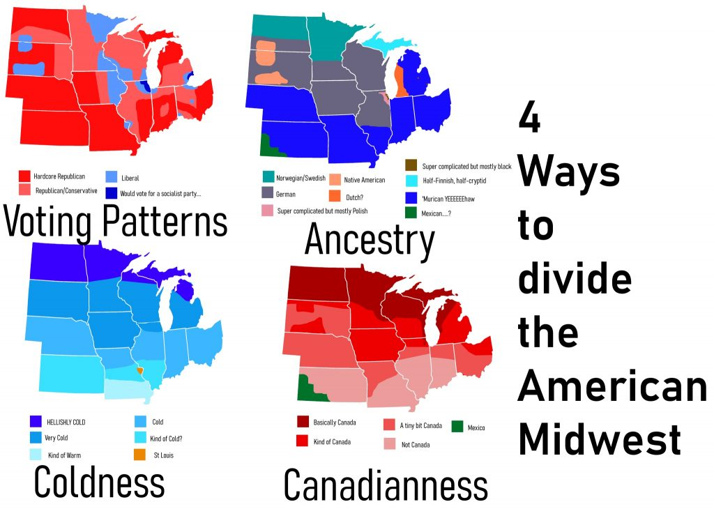 Map of four ways to divide the American Midwest
