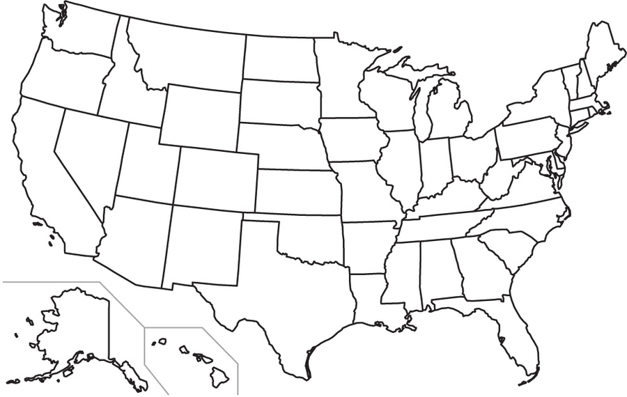 Us State Border Map Borders of the United States   Vivid Maps
