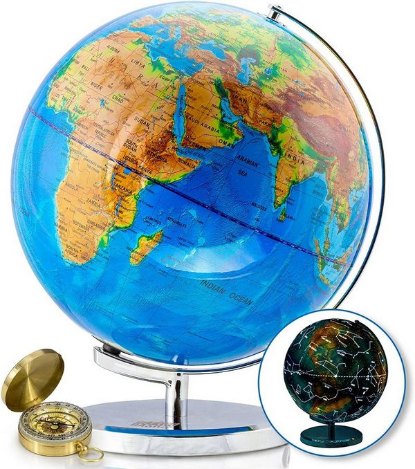 Highly Detailed World Globe with Constellations