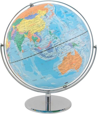 Political Globe with Blue Oceans