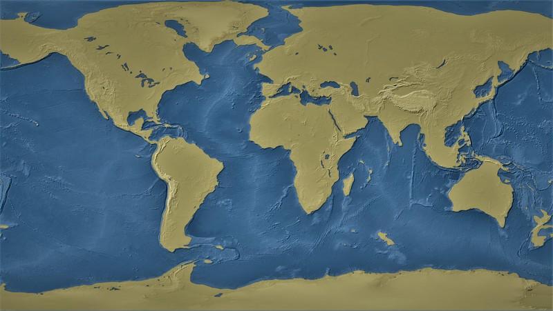 Map o the world with one kilometre sea-level drop