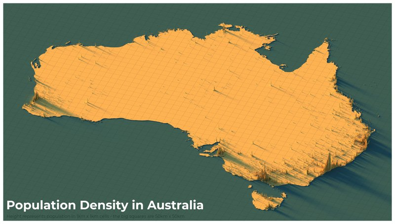 Population density in Australia