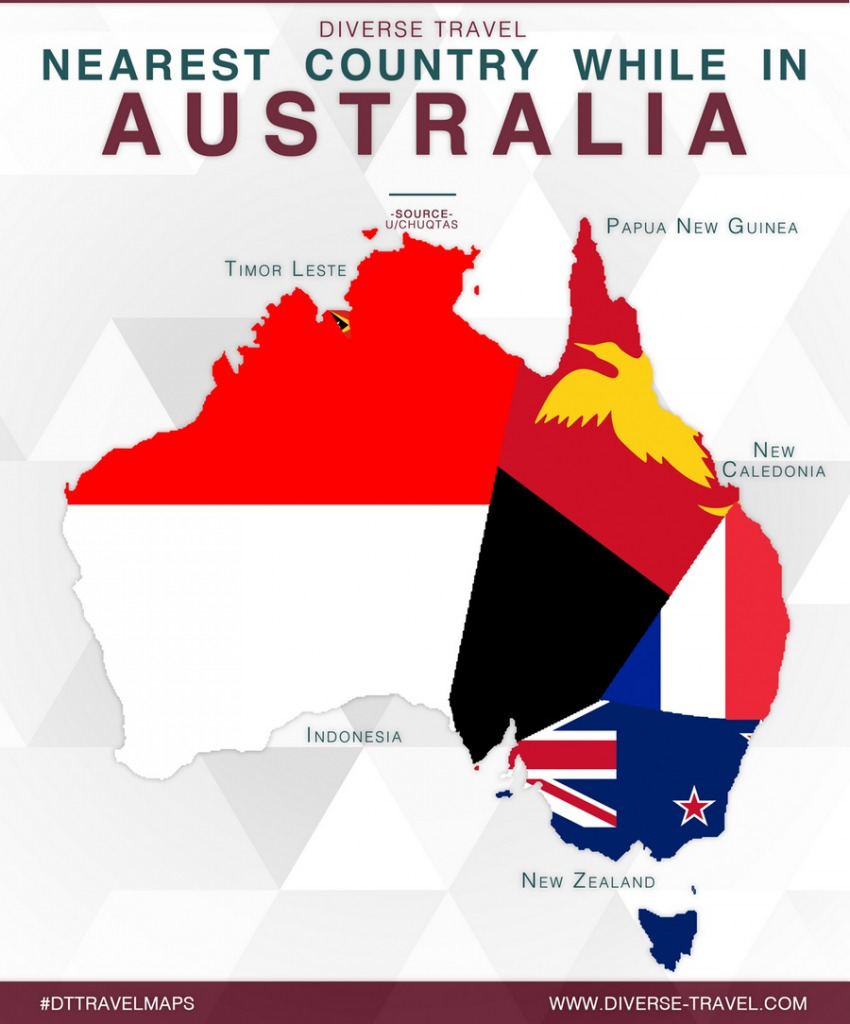 Map of nearest country while in Australia