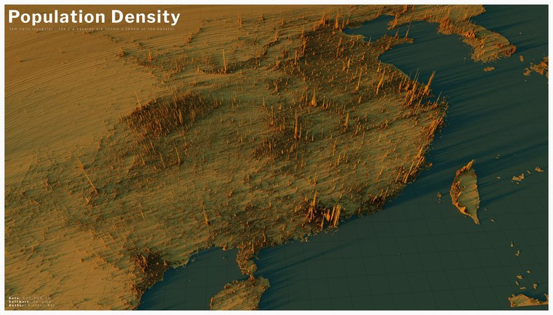 3D map of population density in China