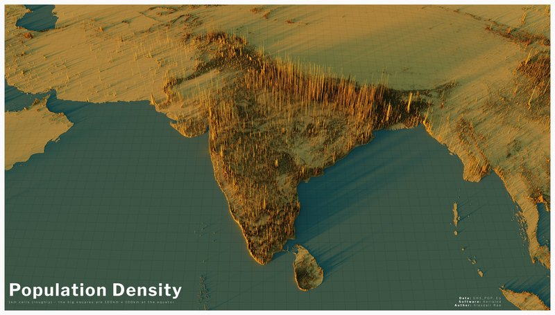India, Bangladesh, Pakistan: 3D map of population density