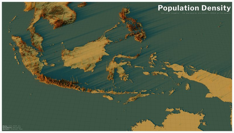 Population Density in Indonesia (3D map)