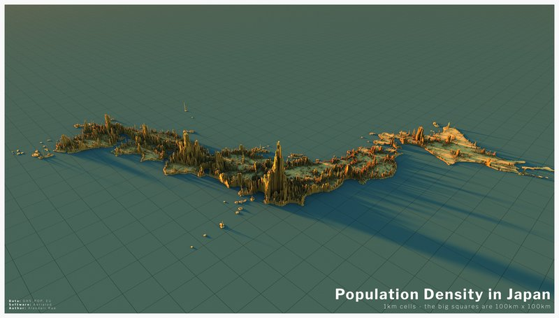 Population density in Japan