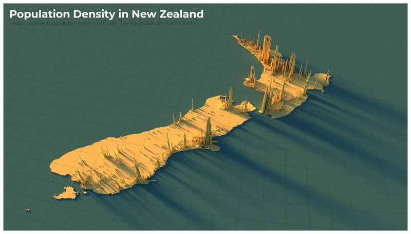Population density in New Zealand